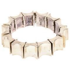 Sterling Silver Reticulated Link Sculptural Cuff Bracelet Vintage