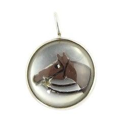 Sterling Silver Reverse Intaglio Horse Pendant
