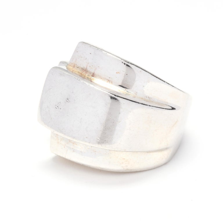Women's or Men's Sterling Silver Ridged Statement Ring For Sale