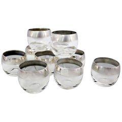 Sterling Silver Rimmed Roly Poly Cocktail Glasses Attributed to Dorothy Thorpe