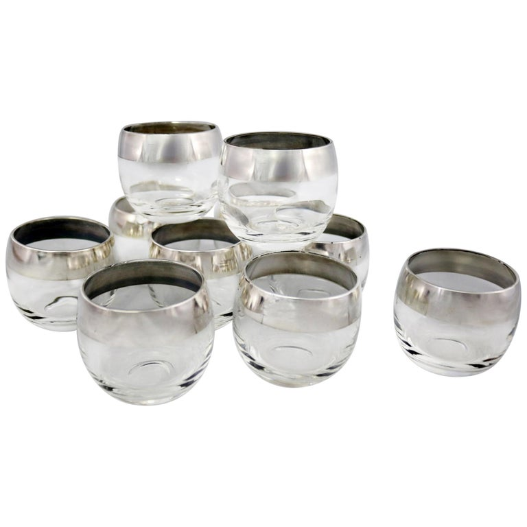 a2ca0a194f6f Sterling Silver Rimmed Roly Poly Cocktail Glasses Attributed to Dorothy  Thorpe For Sale
