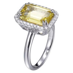 Sterling Silver Ring 3.20 Carat Claw Set Lemon Citrine Color Halo Round Cut