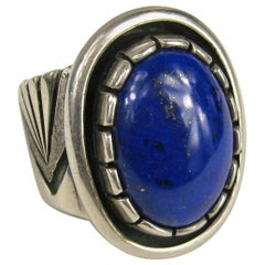 Sterling Silver Ring Lapis lazuli Shadow Box