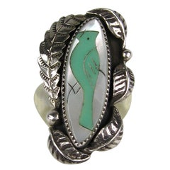 Sterling Silver Ring Native American Old Pawn Turquoise Mother Of Pearl