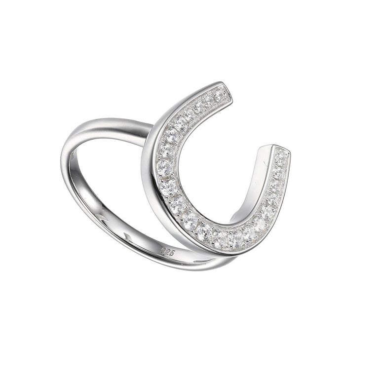 Modern Sterling Silver Ring with CZ Horseshoe, Size 6, Rhodium Finish For Sale
