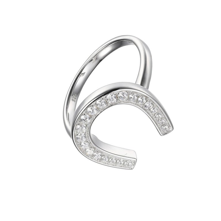Round Cut Sterling Silver Ring with CZ Horseshoe, Size 6, Rhodium Finish For Sale