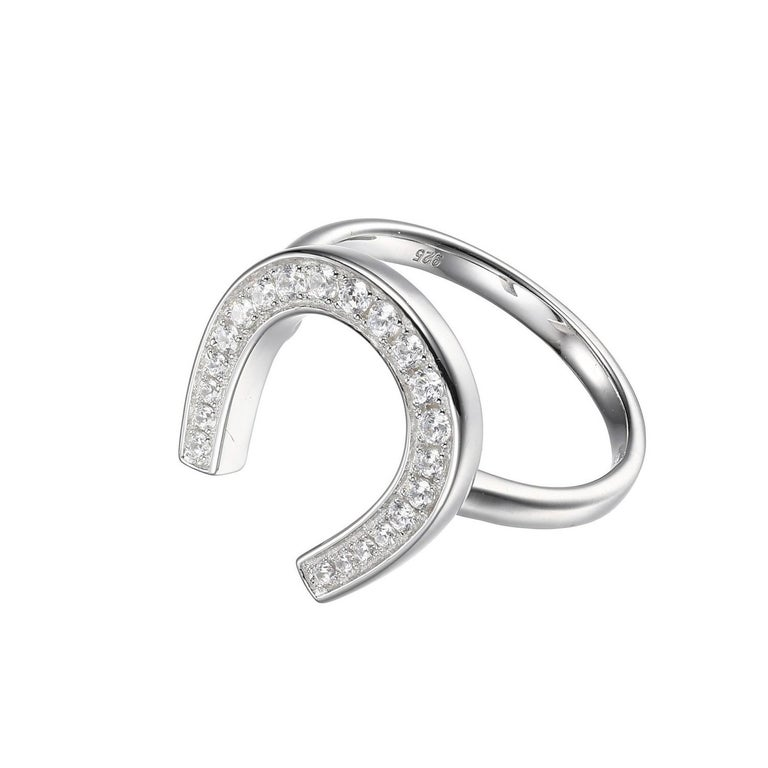 Sterling Silver Ring with CZ Horseshoe, Size 6, Rhodium Finish In New Condition For Sale In Dallas, TX