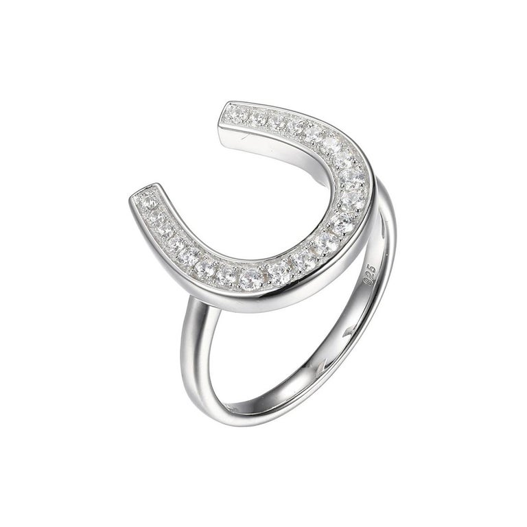 Sterling Silver Ring with CZ Horseshoe, Size 6, Rhodium Finish For Sale