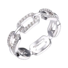 Sterling Silver Ring with CZ Links, Size 6, Rhodium Finish
