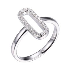 Sterling Silver Ring with CZ, Size 8, Rhodium Finish