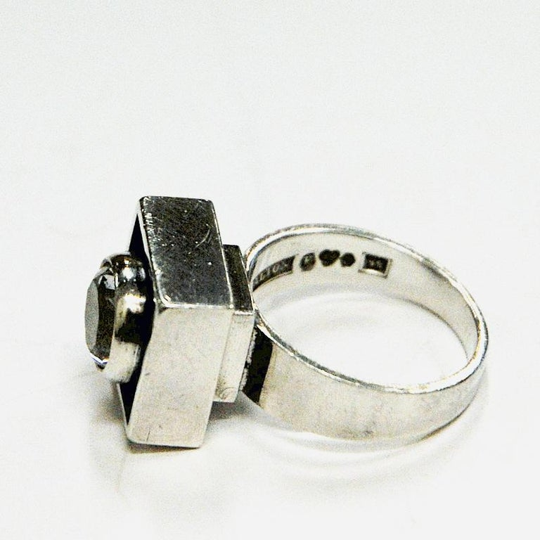 Swedish Sterling Silver Rock Crystal Ring by Alton, Sweden, 1968 For Sale