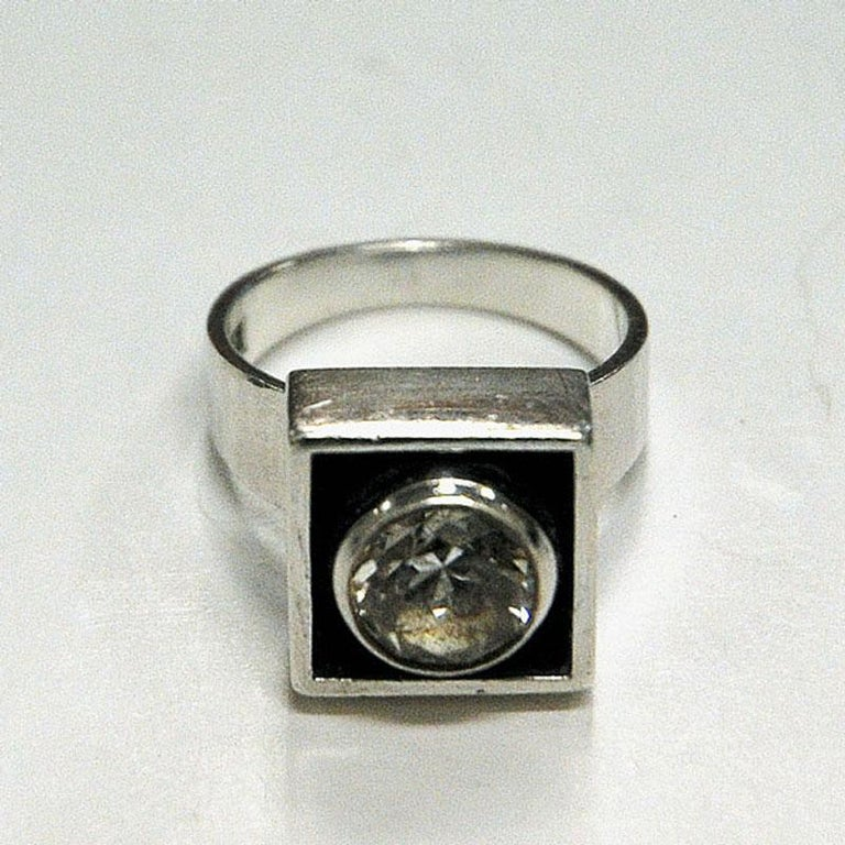 Sterling Silver Rock Crystal Ring by Alton, Sweden, 1968 In Good Condition For Sale In Stockholm, SE