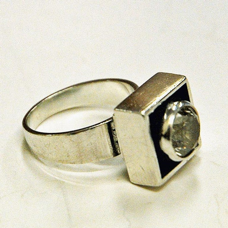 Mid-20th Century Sterling Silver Rock Crystal Ring by Alton, Sweden, 1968 For Sale