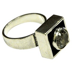Sterling Silver Rock Crystal Ring by Alton, Sweden, 1968