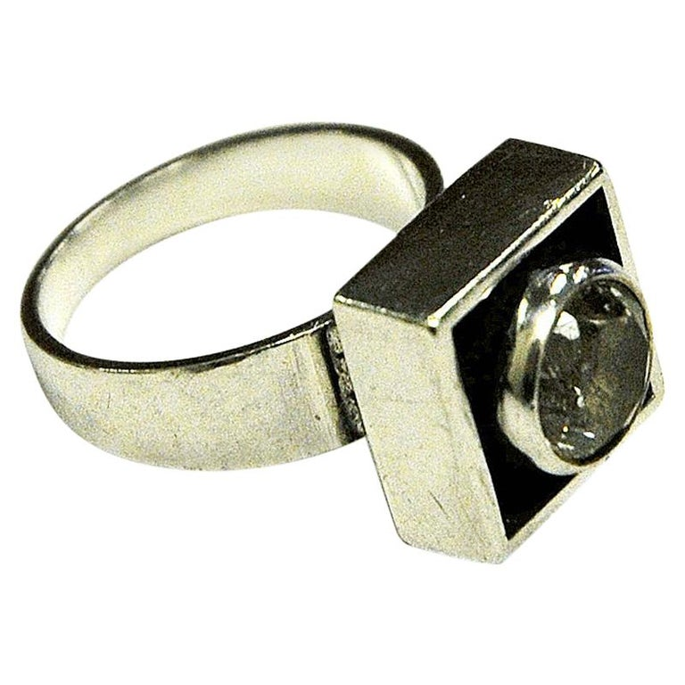 Sterling Silver Rock Crystal Ring by Alton, Sweden, 1968 For Sale
