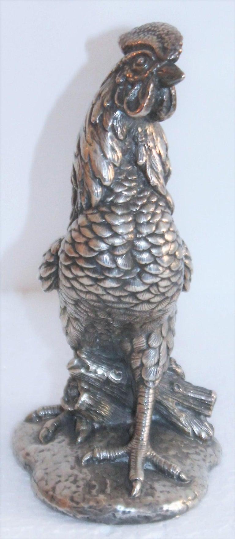 Folk Art Sterling Silver Rooster Sculpture For Sale