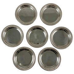 Sterling Silver Rope Rim Butter Pats, a Set of Seven, circa 1940s
