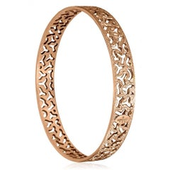 Sterling Silver Rose Gold Textured Bangle Bracelet