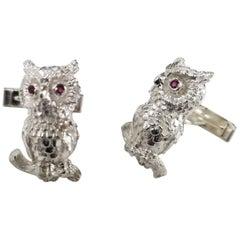 "Sterling Silver Rubies ""Owl"" Cufflinks"