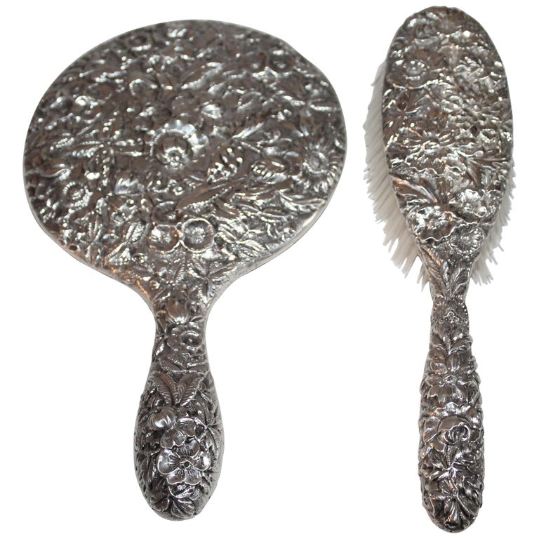 Sterling Silver S. Kirk & Son Brush and Mirror Set For Sale