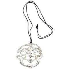 Sterling Silver Salvador Dali Style Sculptural Pendant Necklace Signed Vintage