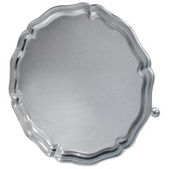 Sterling Silver Salver of Circular Form with a Chippendale Style Border