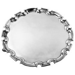 Sterling Silver Salver / Round Tray / Platter 1929 Chippendale Border Engravable