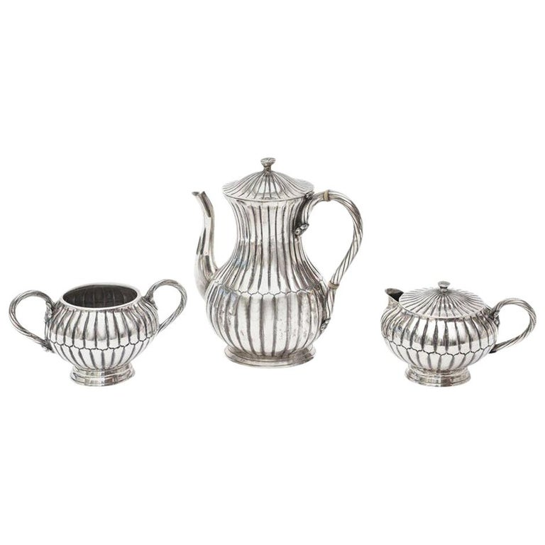 Sterling Silver Sanborn Tea and Coffee Service Mid-Century Modern For Sale