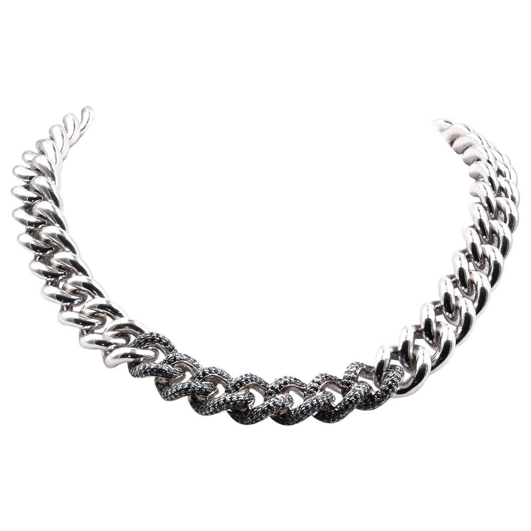 Sterling Silver Sapphire Cuban Link Necklace