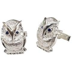 "Sterling Silver Sapphire ""Owl"" Cufflinks"