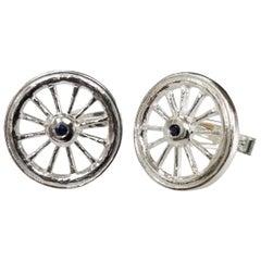 "Sterling Silver Sapphire ""Wagon"" Wheel Cufflinks"