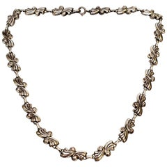 Sterling Silver Scroll Link Necklace