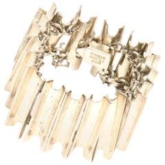 Sterling Silver Sculptural Cuff Bracelet Hallmarked