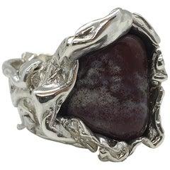 Sterling Silver Sculpture Ring Violet Lepidolite Crystal, Italy