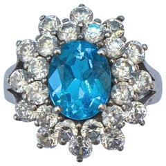 Sterling Silver Sea Blue and Clear Rhinestone Cluster Ring