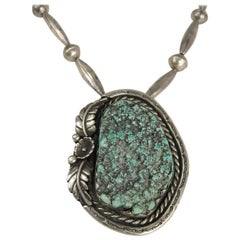 Sterling silver Sea Foam Turquoise Necklace Pendent Old Pawn Navajo