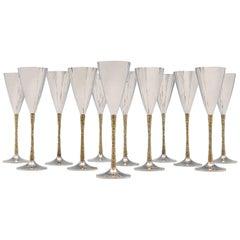 Stuart Devlin - Mid Century Modern Sterling Silver Set of 12 Champagne Flutes