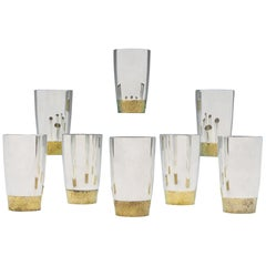 Stuart Devlin Sterling Silver Set of 8 Beakers With Bark Effect Detail from 1972