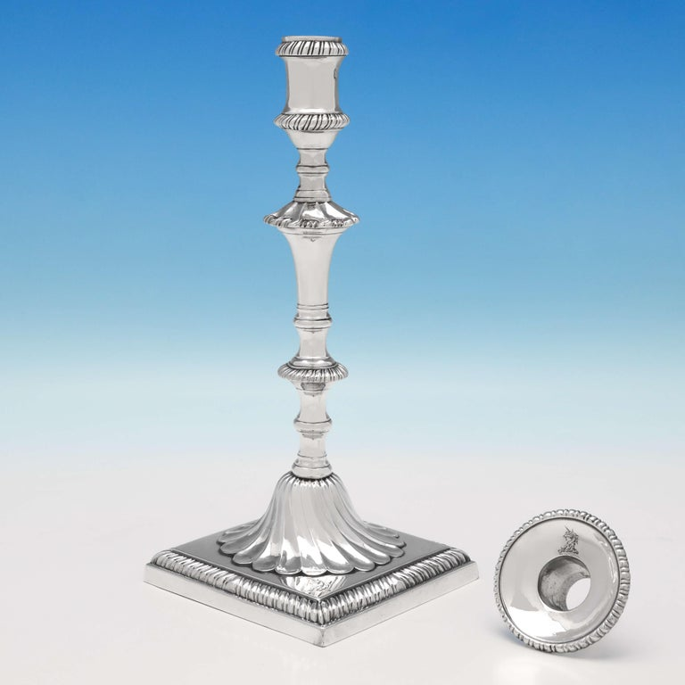 English George III Antique Sterling Silver Set of Four Cast Candlesticks by John Cafe For Sale