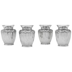 Sterling Silver Set of Four Vases