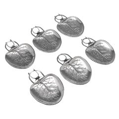 Naturalistic 'Leaf' Antique Sterling Silver Set Of Six Clip-On Plates from 1903