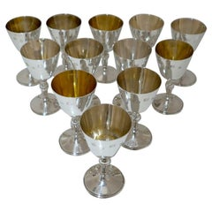 Sterling Silver Set Twelve Wine Goblets Birminghm 1971/72 Barker Ellis Silver Co