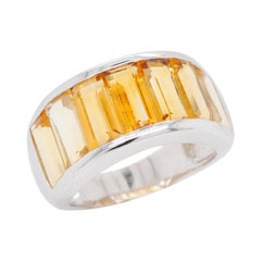 Sterling Silver Shaded Citrine Baguette Broad Band Ring