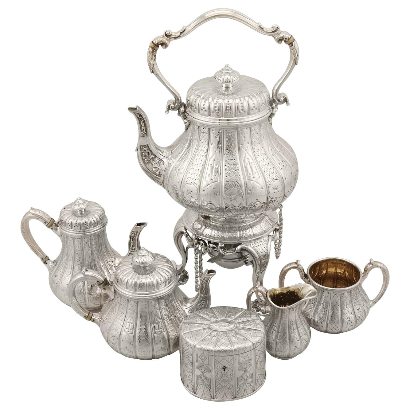 Sterling Silver Six Piece Bachelor Tea and Coffee Service Antique, Victorian