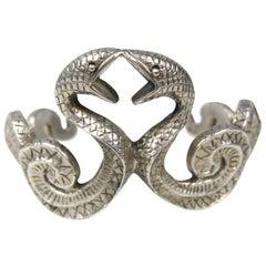 Sterling Silver Snake Cuff Bracelet Double Headed