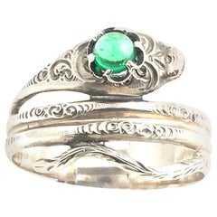 Sterling Silver Snake Ring with Green Glass