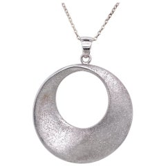 Sterling Silver Sparkle Finish Circle Pendant Necklace