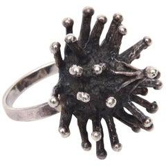 Sterling Silver Sputnik Brutalist Ring