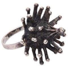 Sterling Silver Sputnik Brutalist Ring Vintage