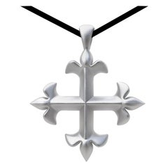 Sterling Silver St. Mary's Fleur-di-Lys Pendant Necklace